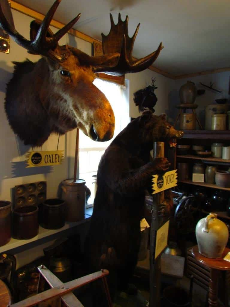 Various artifacts adorn the museum located on the second floor of the Ox Yoke Inn.