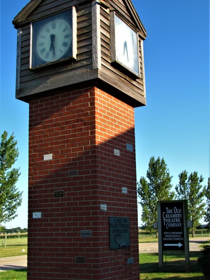 Clock tower in front of the Old Creamery Theater.