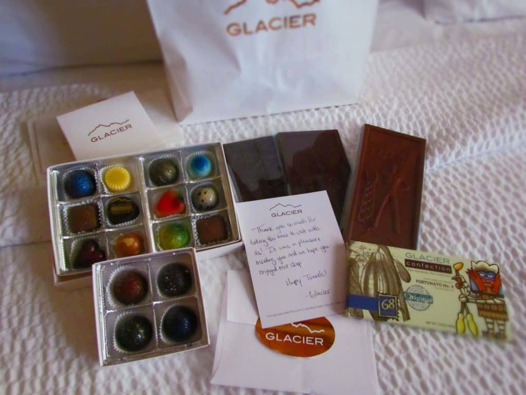 An assortment of chocolates that were given to the authors at the end of their visit.