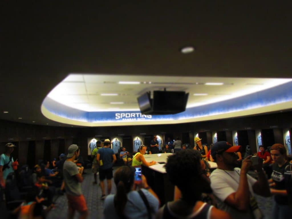 A view inside the Sporting KC locker room.
