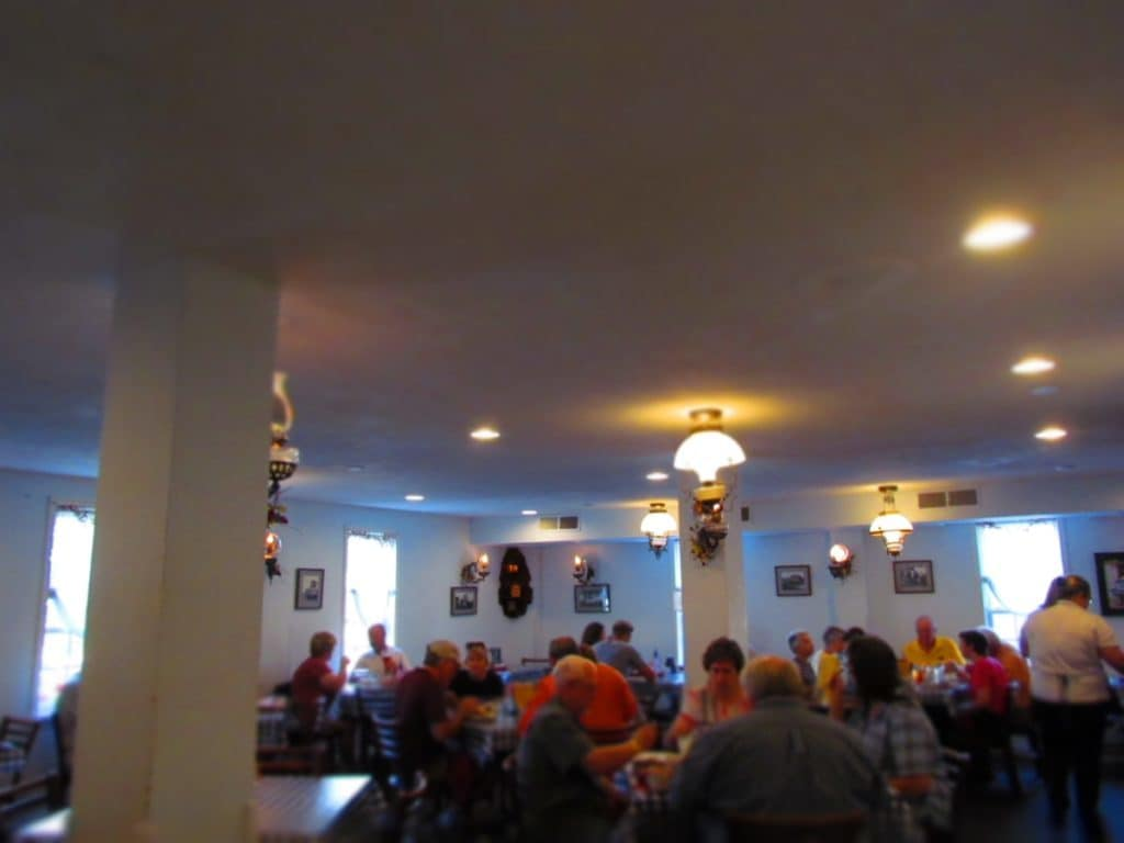 The dining room of the Ox Yoke Inn is filled with hungry residents and tourists.