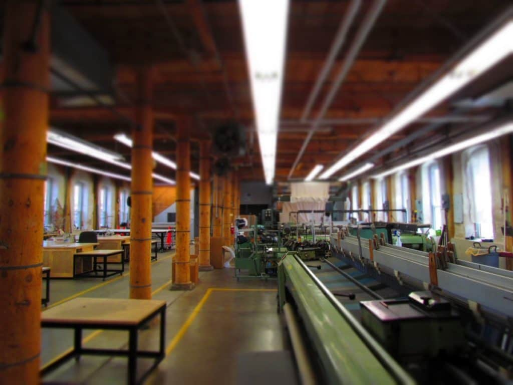 The Amana Woolen Mill production facility.