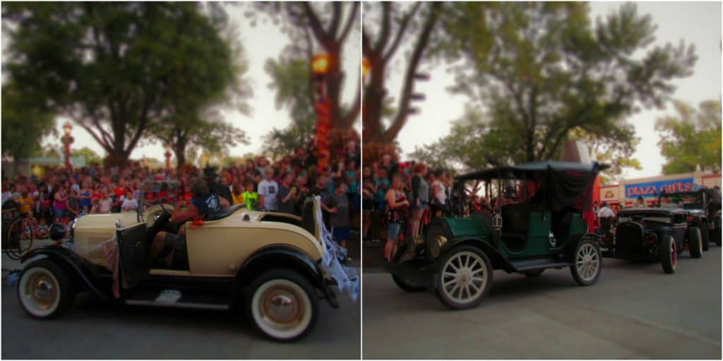 A few of the vehicles that are used during the Halloween Haunt parade.