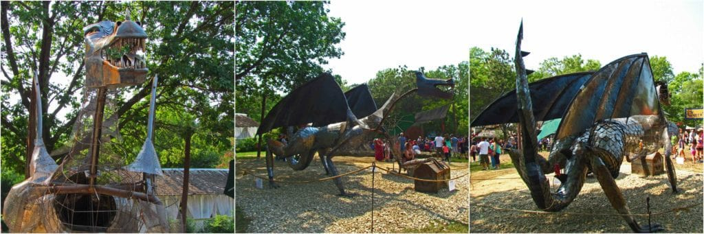 The artisan guild is in the process of assembling a dragon on the festival grounds.