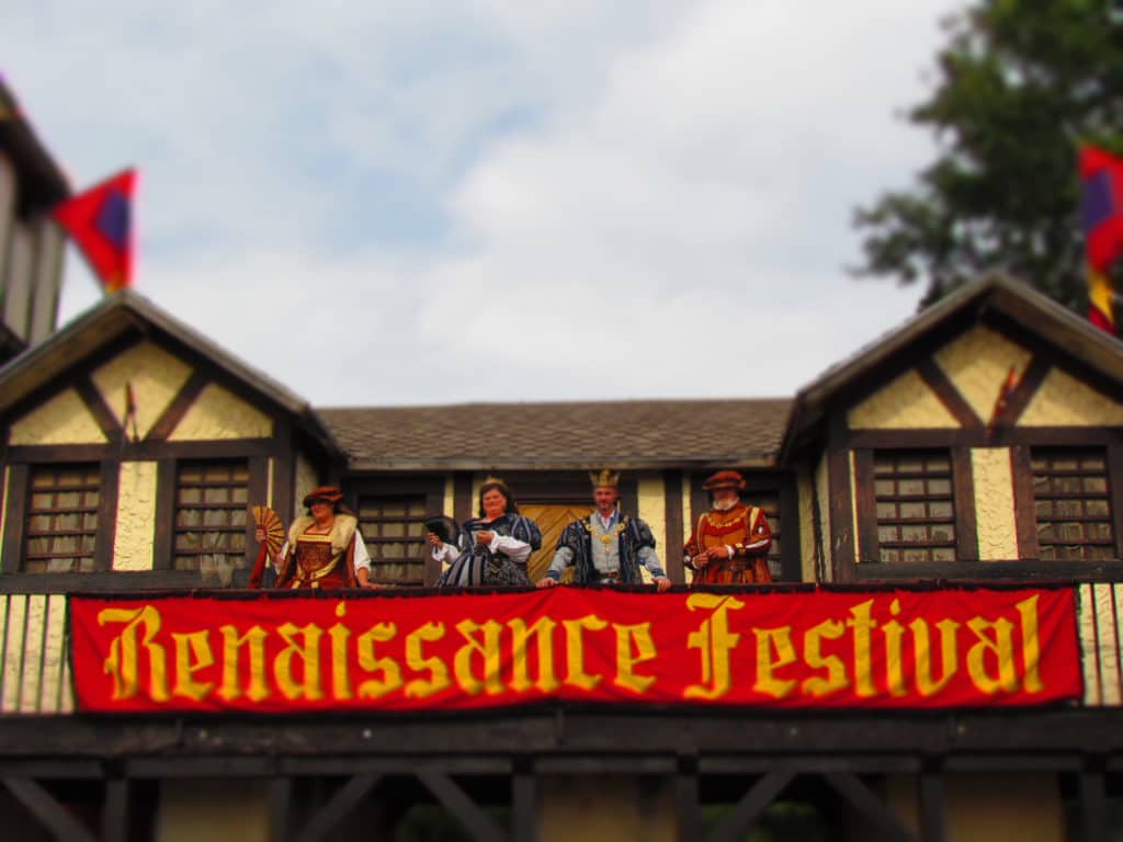 The royal court greets visitors to the Kansas City Renaissance festival held every year during the Fall festival season.