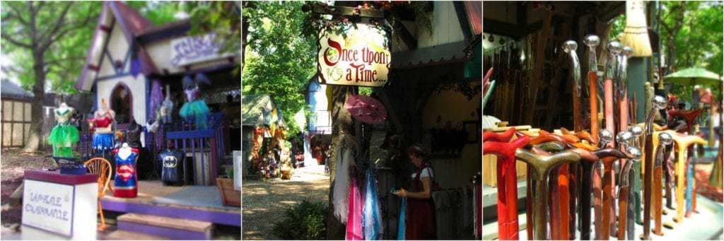 A variety of shops sell goods of all kinds to festival guests.