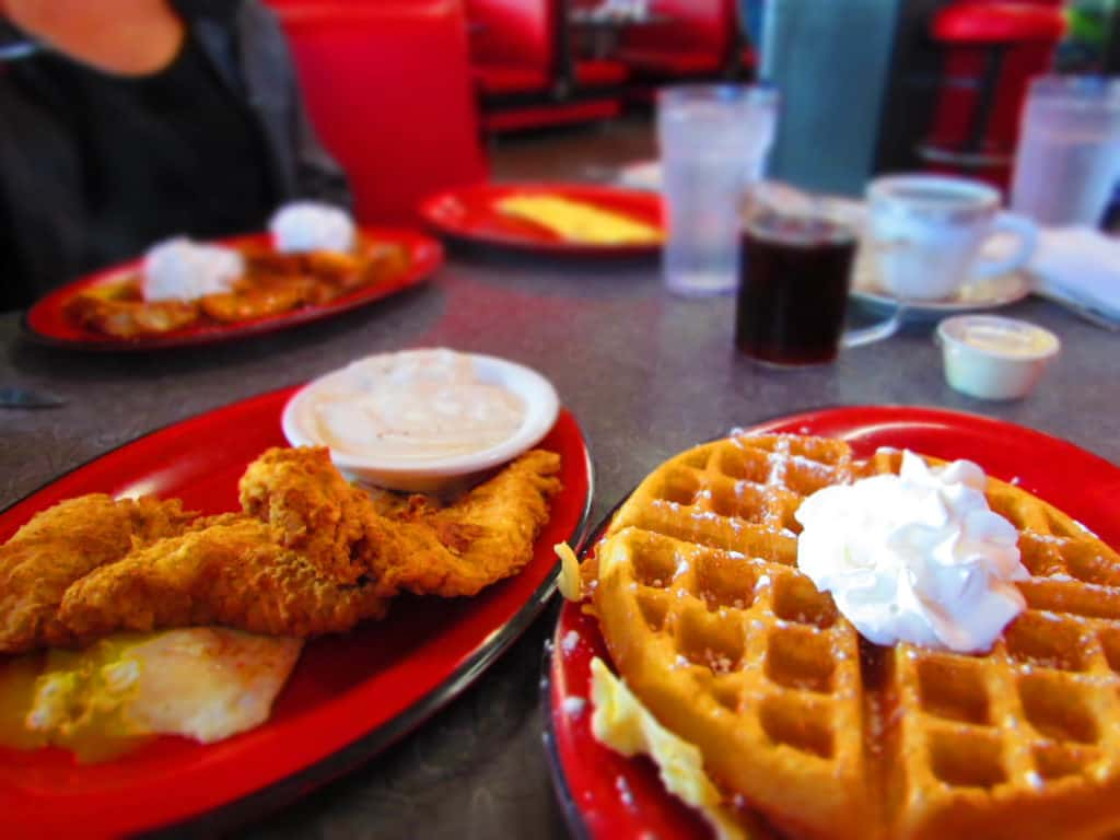 Waffles and Fried Chicken are one of the most popular breakfast menu items at Tally's cafe.