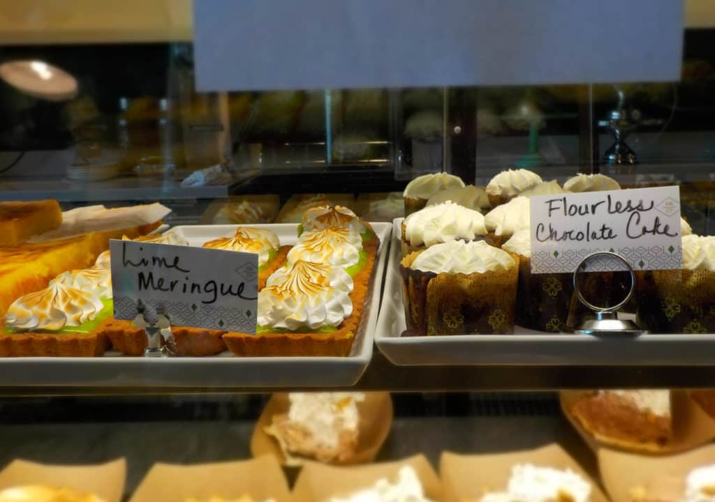 A refrigerated case holds enticing dessert options.