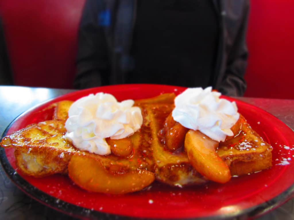 Fruity French Toast with cinnamon apple compote.