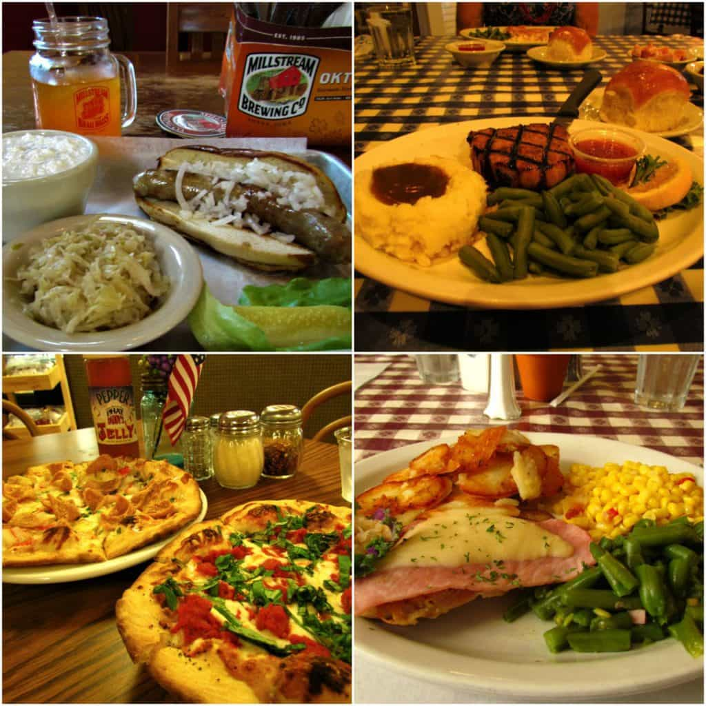 Four picture collage of restaurants available in Middle Amana.
