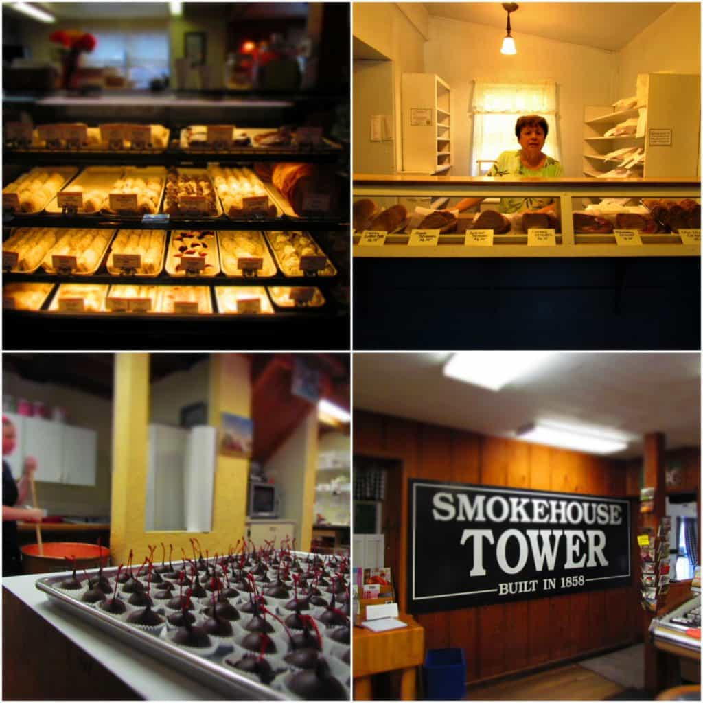 A four picture collage of some of the delicious food products available in the Amana Colonies.