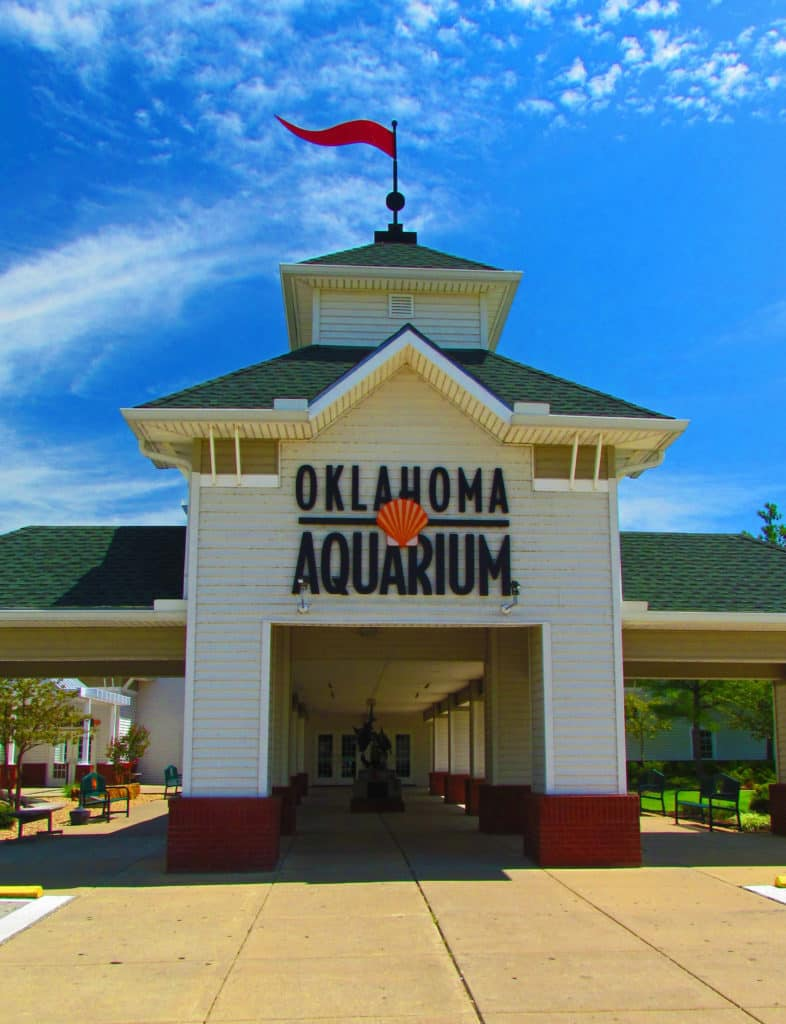 The grand entrance to the Oklahoma Aquarium in Jenks, Oklahoma.