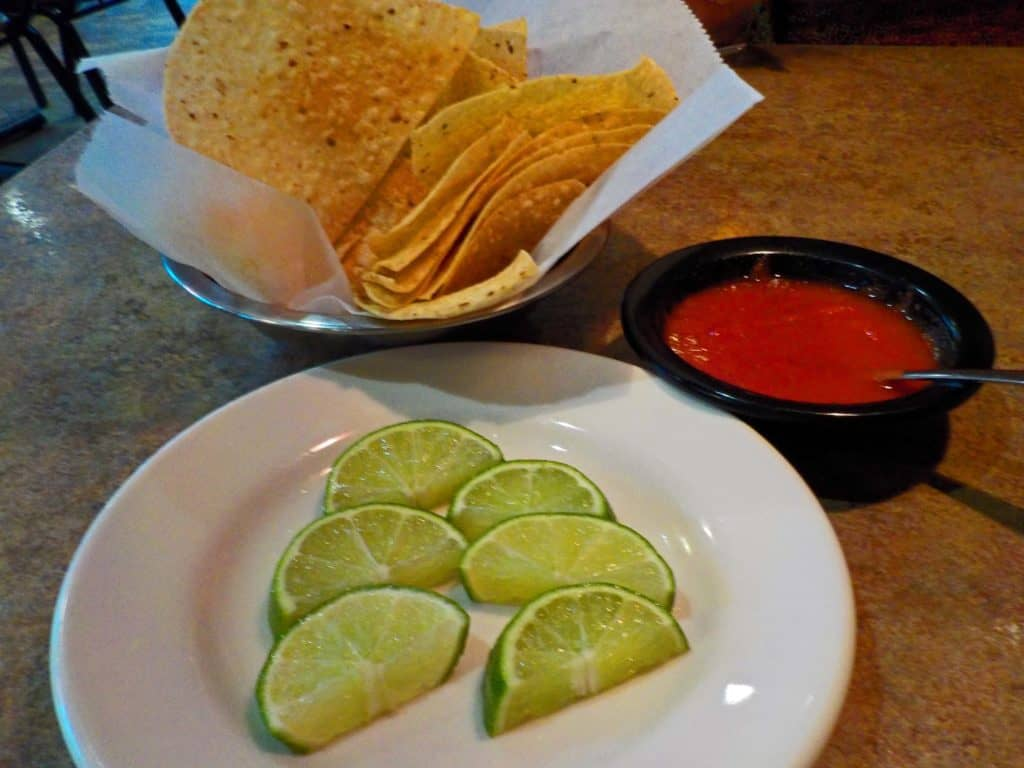 Crispy chips and salsa make a great snack while reviewing the menu.