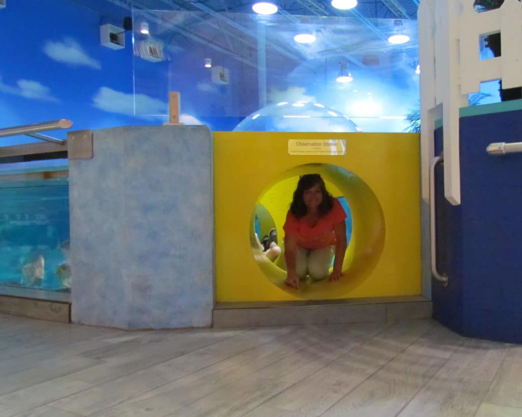 The author exploring the underwater viewing bubble.