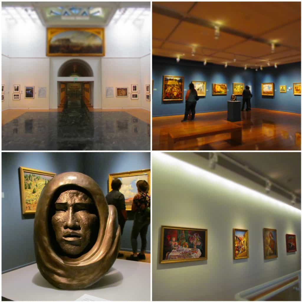 A collage of four pictures highlight some of the artwork on display at the Gilcrease Museum.