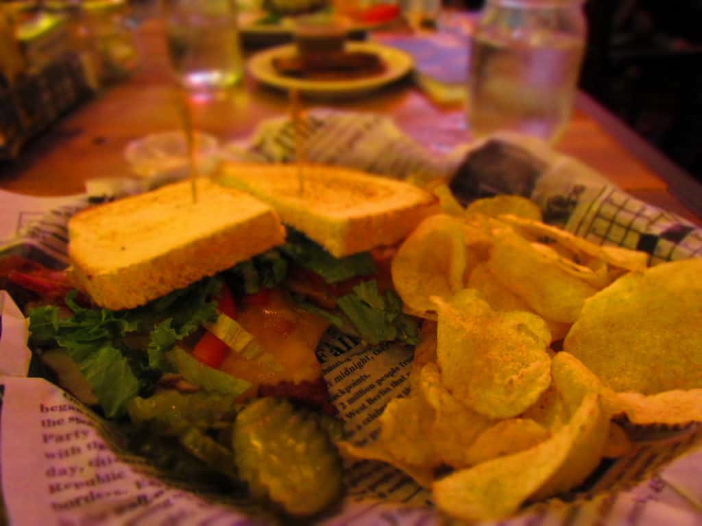 The Turkey Bistro is an unusual twist on a BLT sandwich by adding turkey and cheddar cheese.