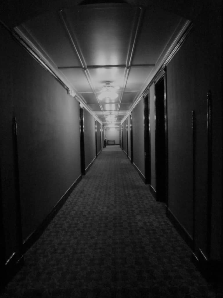 One of the hallways that staff used to transport the bodies of the people who succumbed to cancer at the Baker Cancer Hospital.