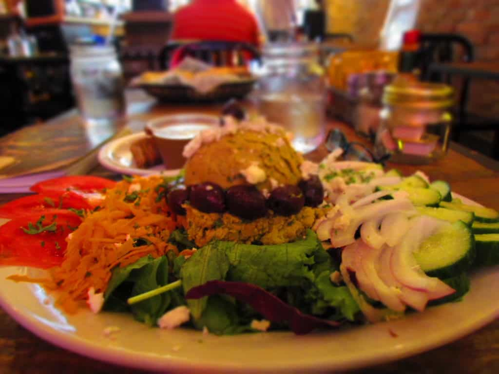 The Hummus Salad is an interesting twist on a chef's version by adding a scoop of delicious hummus.