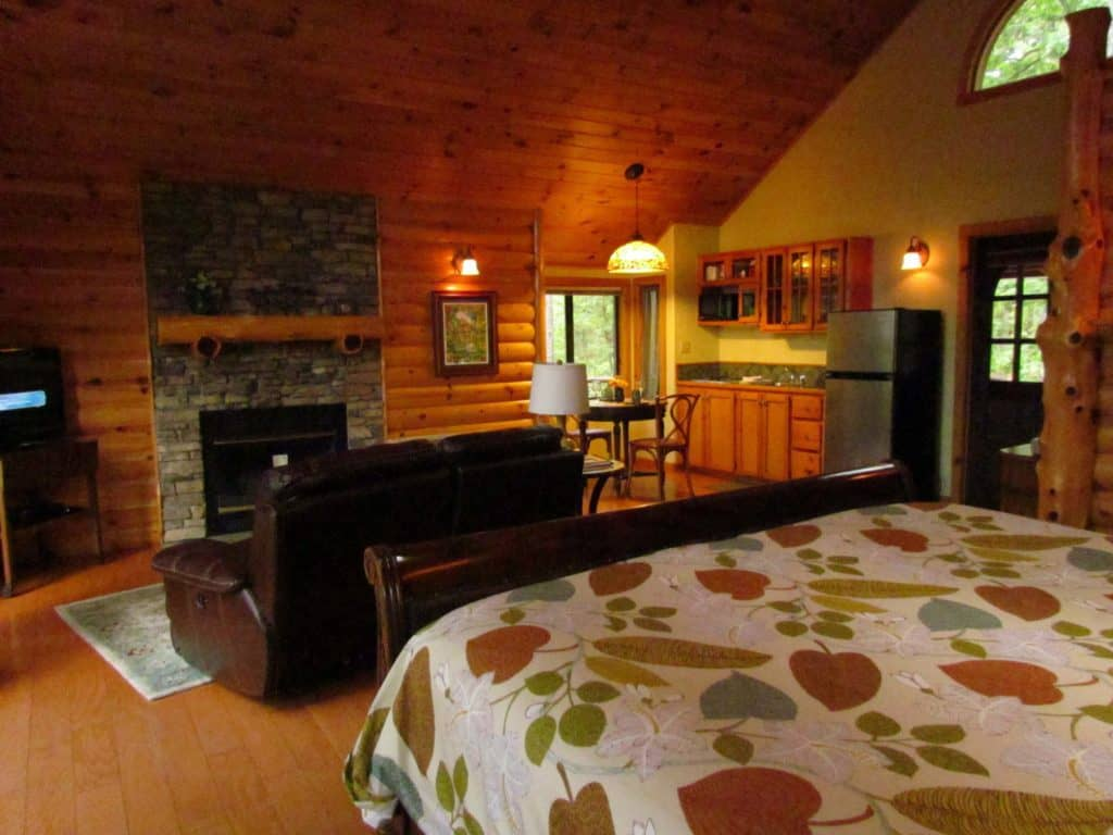 The interior of the Towering Pines cottage is luxurious and homey.