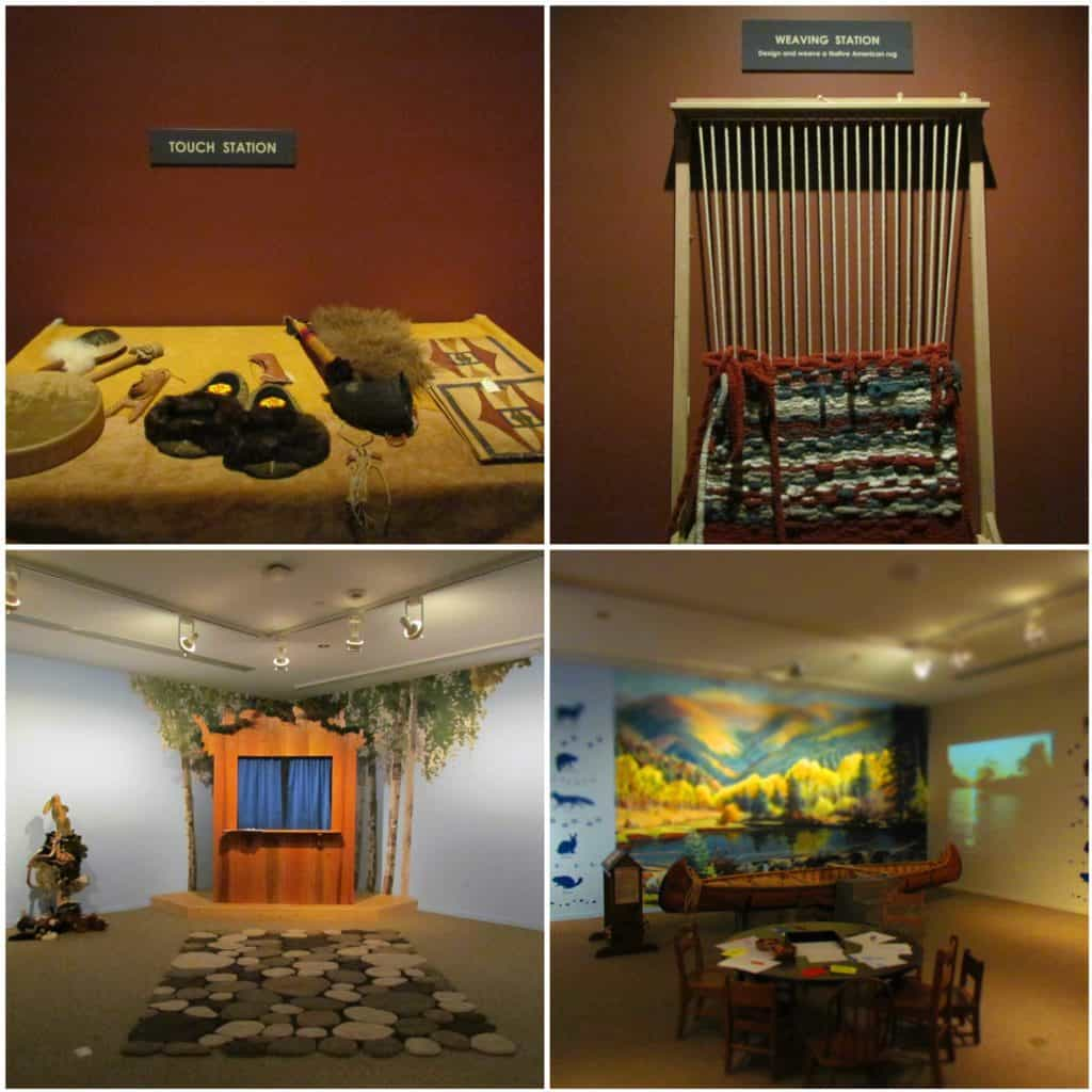 A four picture collage shows some of the all ages hands-on activities found at the Gilcrease Museum.