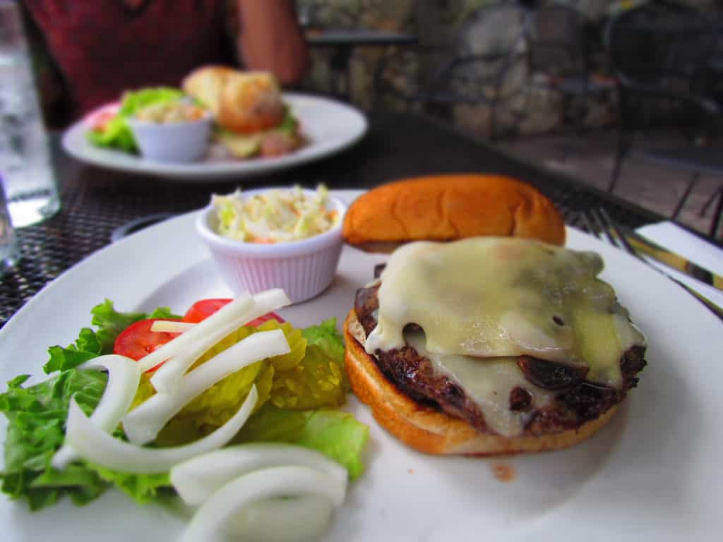 The mushroom Swiss burger is made with fresh ground beef.