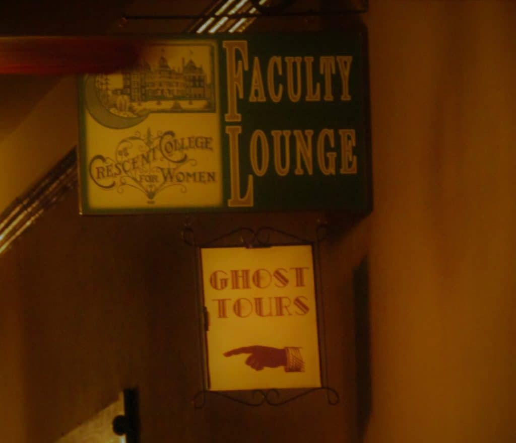 Signs identify the location of the ghost tour.