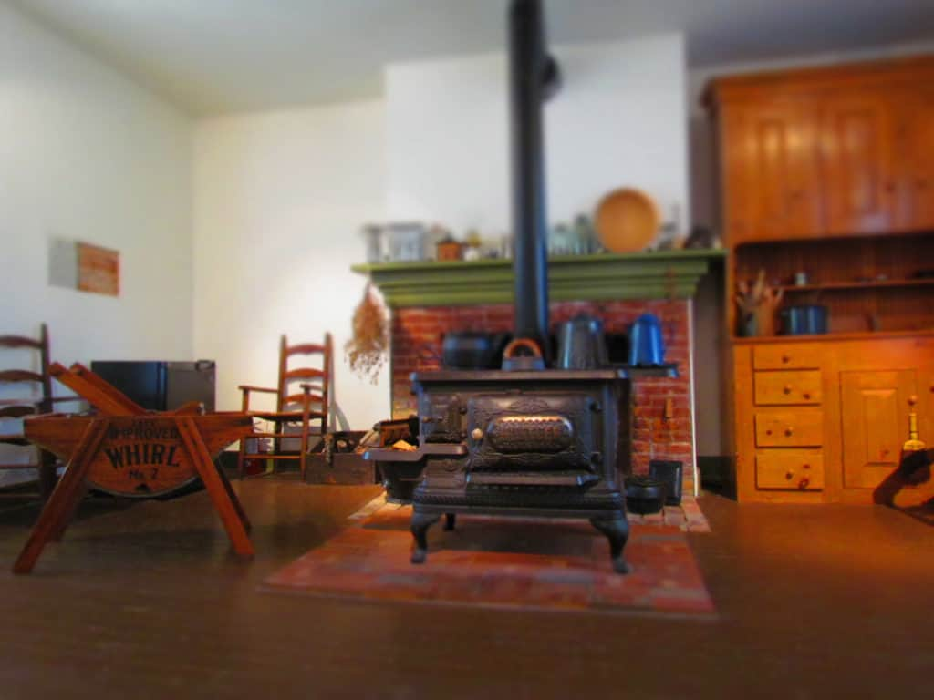 The kitchen of the Grinter House holds various equipment common to the 1800's.