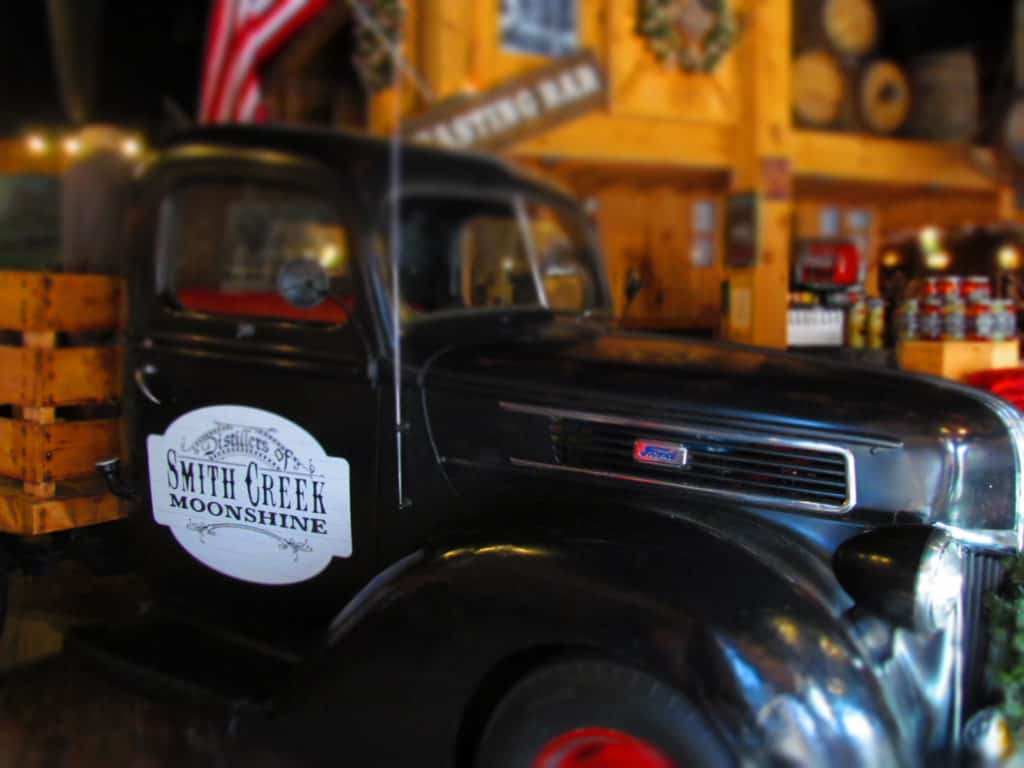 Rustic memorabilia is used to decorate the space of Smith Creek Moonshine.