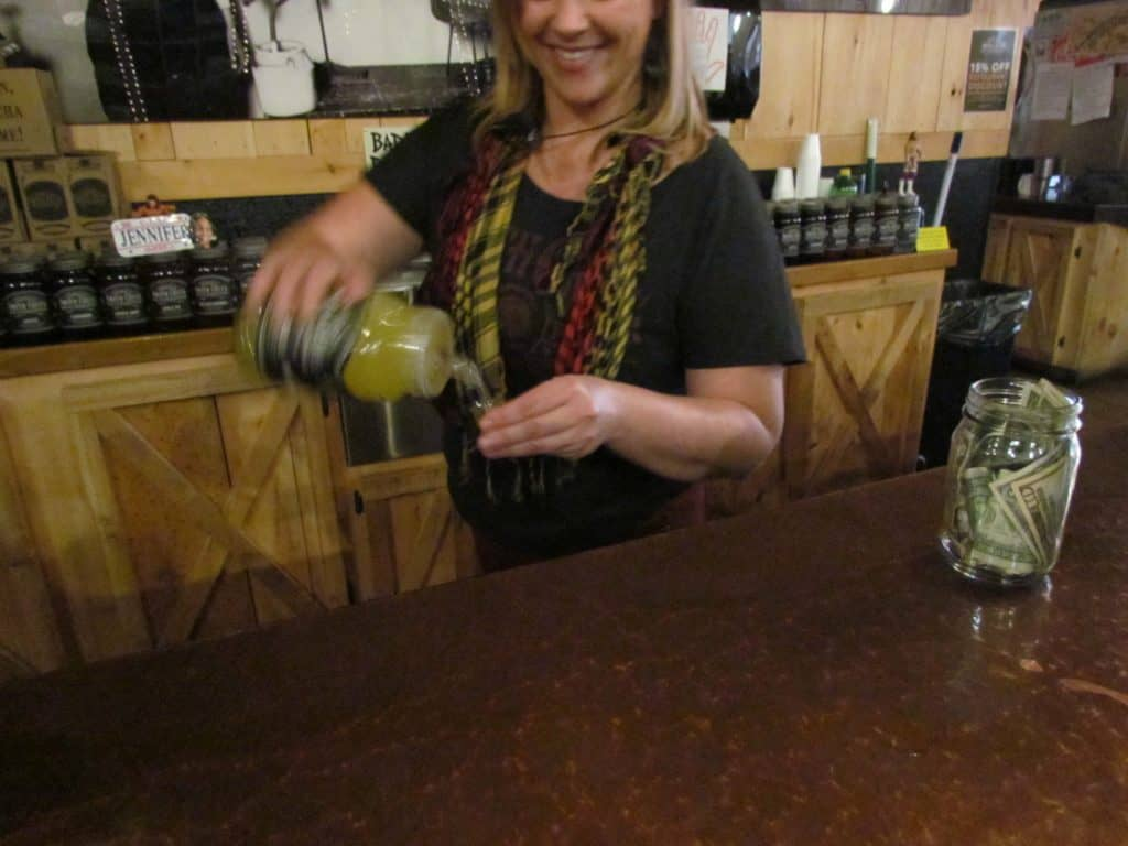 Smith Creek Moonshine offers samples of their various flavors at the tasting bar.