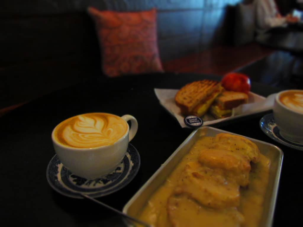 Biscuits and gravy are a traditional breakfast dish at Third Space Coffee.