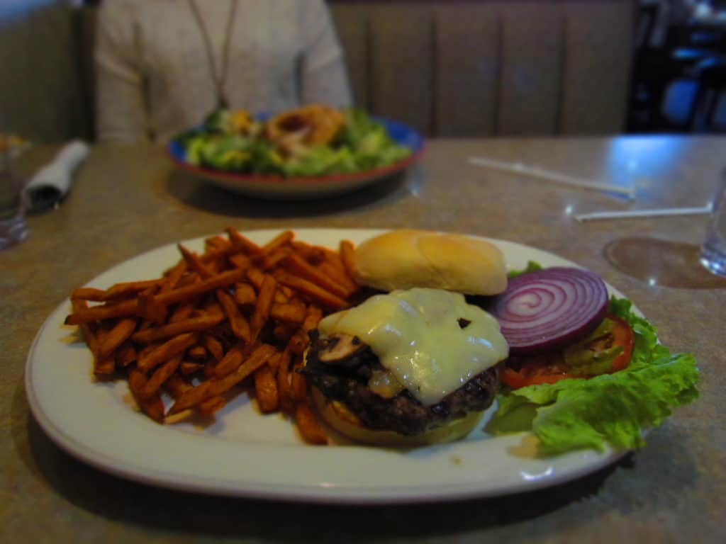 The Mushroom Burger at Pegah's Family Restaurant is accompanied by sweet potato fries.