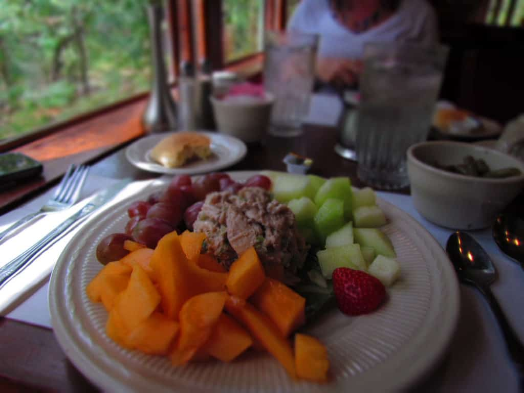 The Chicken Salad comes with fresh fruit.