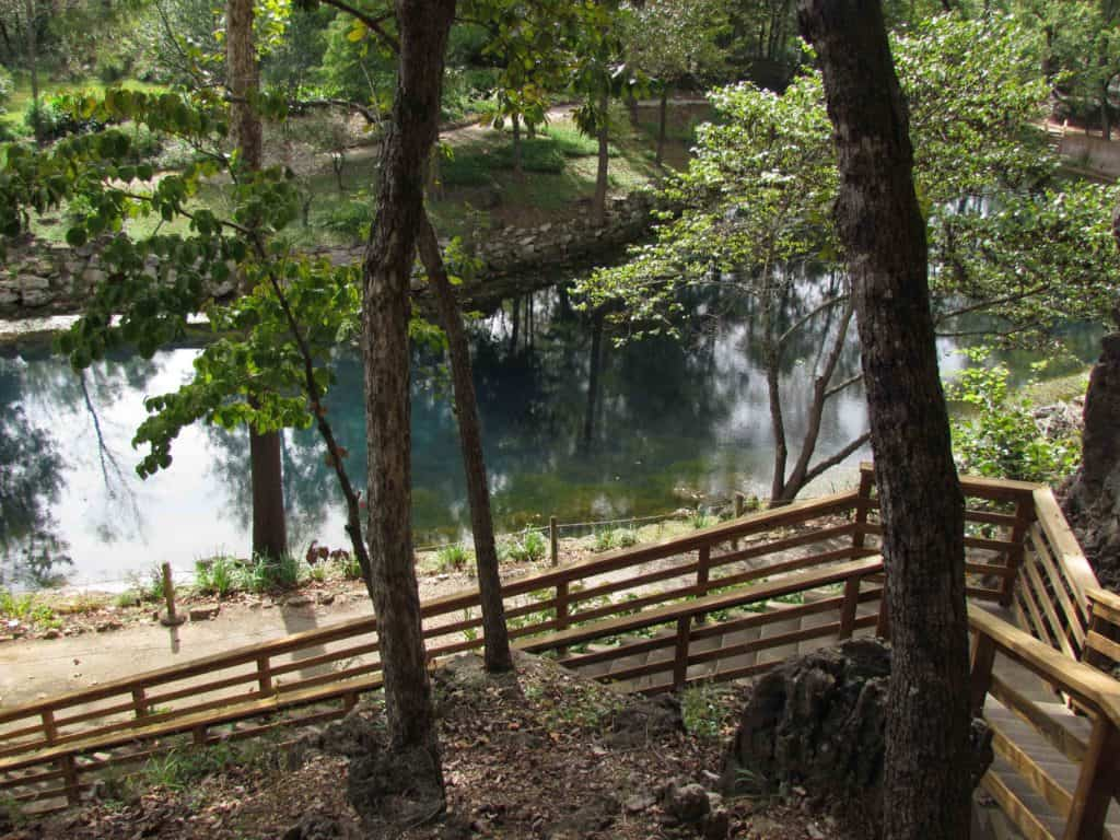 Visitors are welcomed to the attraction with an overlook of the Blue Spring basin.