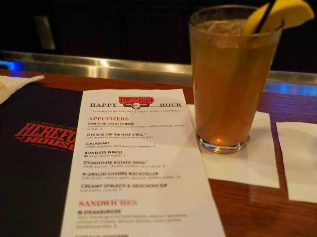 The Hereford House Happy Hour menu is simple, but packed with great deals.
