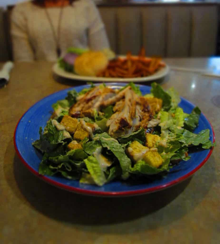 Grilled Chicken Caesar Salad is an oversized dinner dish.