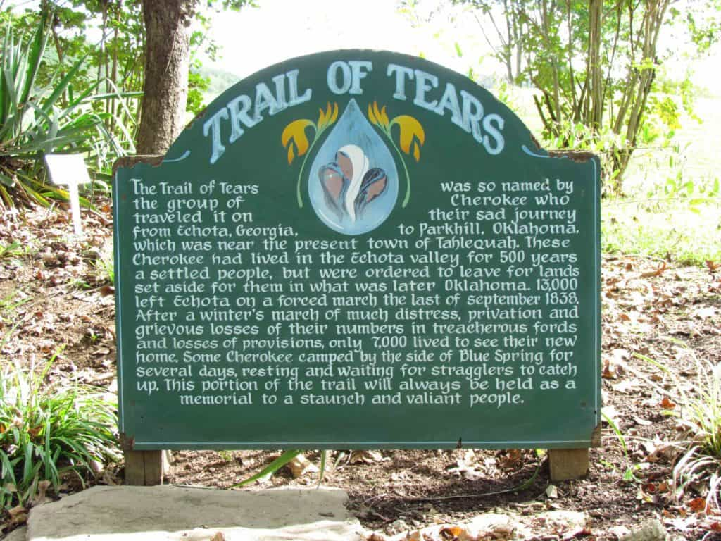 A sign explains the historical significance of the site as it relates to the Trail of Tears.