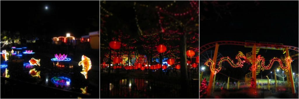 The Orient section of the park has special lighting.