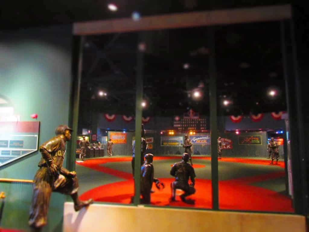 Looking out at the field of iconic Negro League ball players.