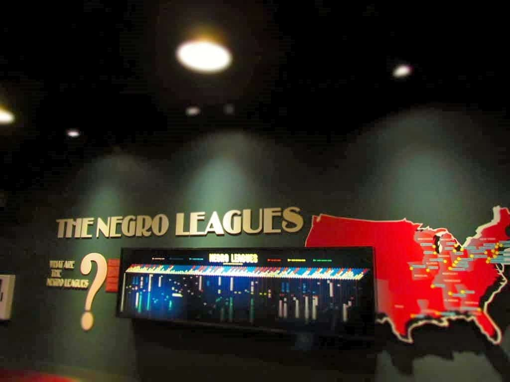 A display highlighting the various teams that made up the Negro leagues.