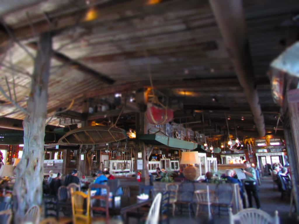 The interior of the White River Fish House is adorned with memorabilia familiar to fishermen.
