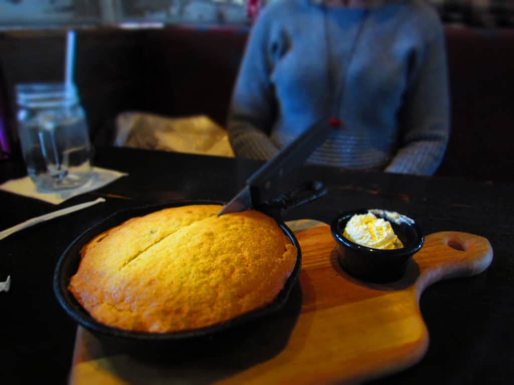 Our meal started with a pan of Jalapeno Cornbread served with house whipped butter.