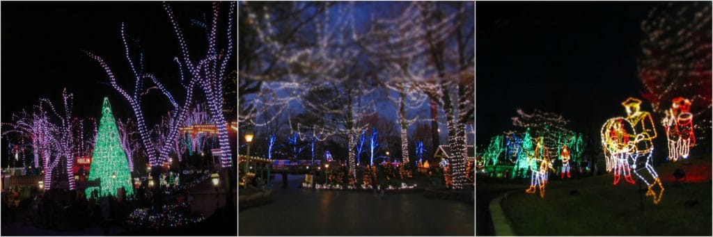 Light displays are found throughout Worlds of Fun during Winterfest.