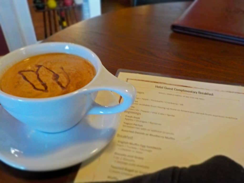 A cup of latte is a perfect start to breakfast at The Branson Hotel.