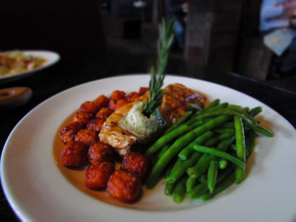 Maple Glazed Salmon is a tasty dish available at White River Fish House in Branson. Missouri.