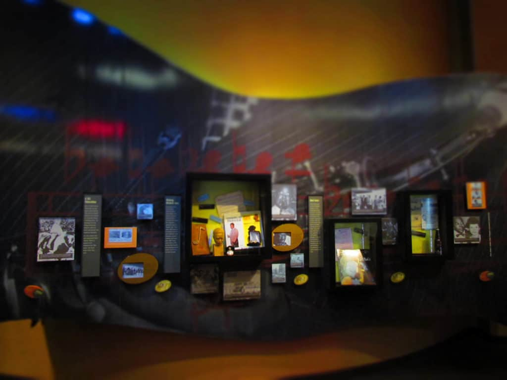 Various exhibits at the American Jazz Museum include historic artifacts.