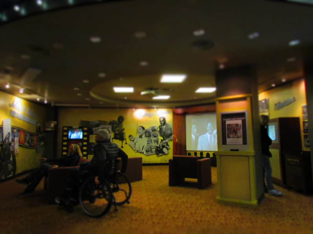 A theater area can be used to watch some of the recorded classic jazz performances.