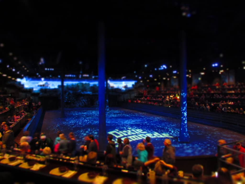 The audience finds their seats prior to the start of the Dixie Stampede evening show.