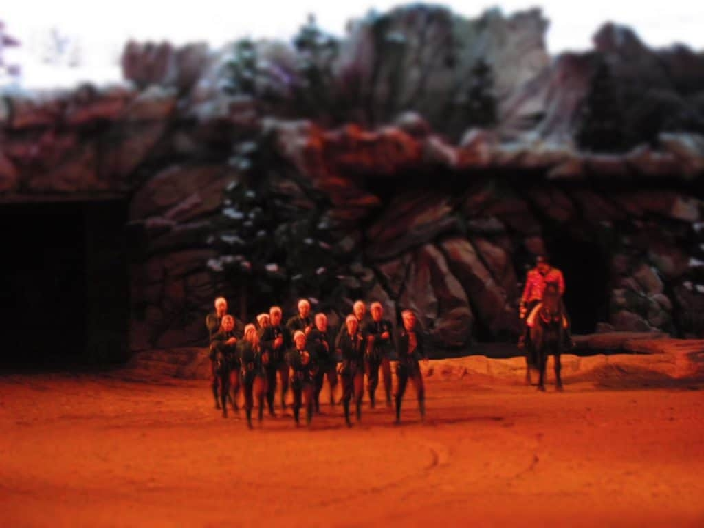 The elves parade during the Christmas Spectacular at Dixie Stampede in Branson, Missouri.