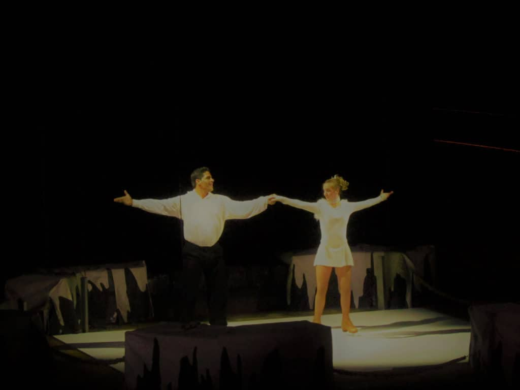 A pair of ice skaters performed to an appreciative crowd at Dixie Stampede.