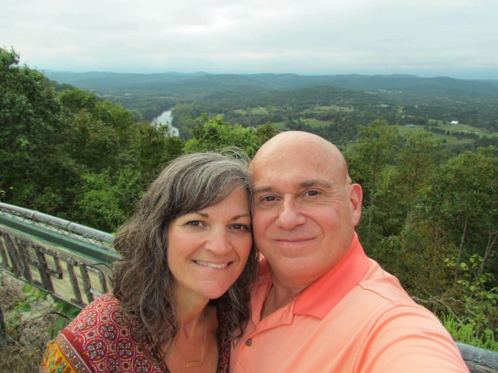 The authors pose for a selfie overlooking an Ozark valley.